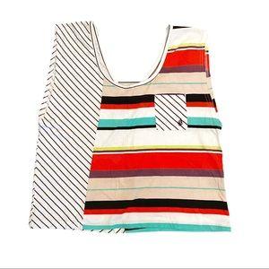 Volcom multi coloured striped boxy tank top